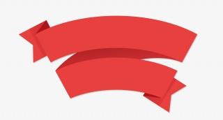 卡通红色彩带png素材边框