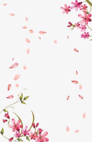 春天妇女节情人节粉色花瓣边框漂浮素材