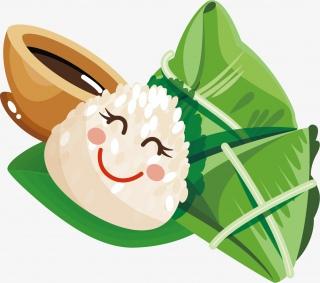 端午节粽子一碗红豆汤卡通手绘装饰元素