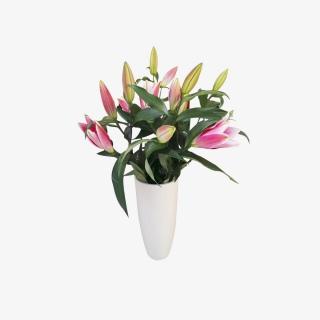 实拍百合花鲜花花瓶摆件