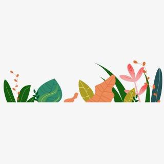 花草手绘卡通装饰五彩夏天春天植