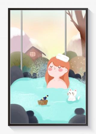 你好一月女孩和猫泡温泉蓝色小清新插画