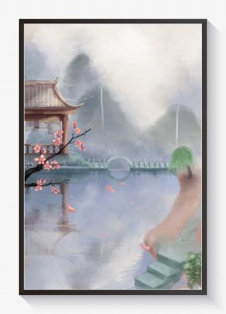 清明节古风插画春天风景水墨山水中国风花卉