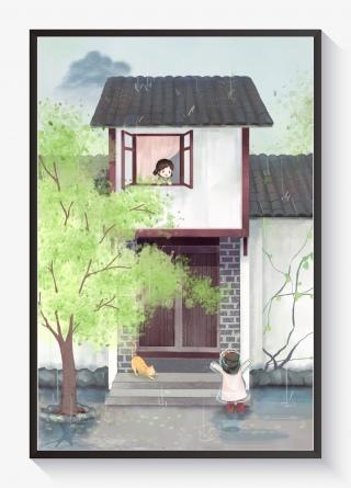 谷雨古风建筑两小女孩打招呼