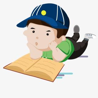 卡通趴着看书男孩