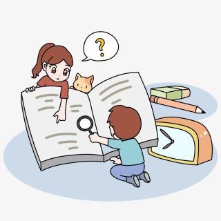 看书学习的卡通小男孩小女孩形象