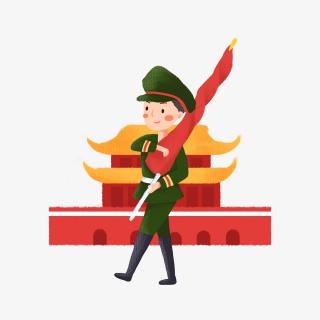 天安门升国旗的军人素材