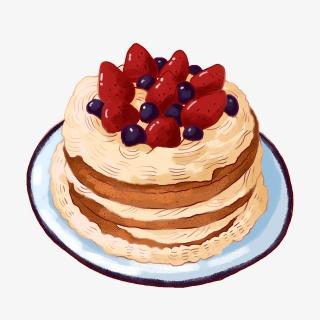 手绘草莓蛋糕PNG免抠素材