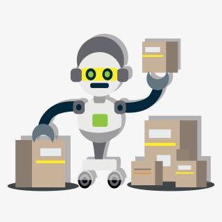人工智能分拣机器人包装手绘插图