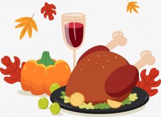 感恩节的卡通火鸡大餐和美酒