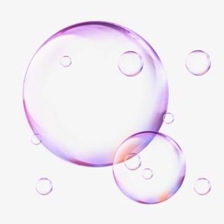 彩色透明紫色渐变装饰漂浮气泡元素