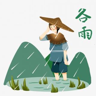 谷雨插秧的小女孩