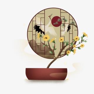 重阳节仙鹤菊花