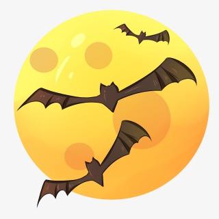 万圣节月明蝙蝠边框插画