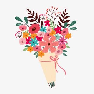 粉色系手绘花朵花捧花花束PNG