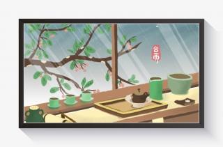 春季卡通小清新谷雨春茶雨景配图