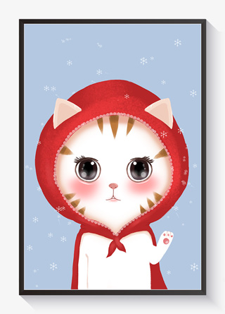 动物插画萌宠系列白猫小红帽