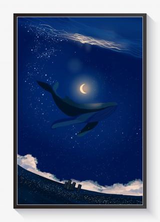 浪漫唯美星空治愈系海洋鲸鱼