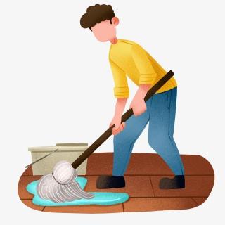 卡通男孩拖地打扫卫生