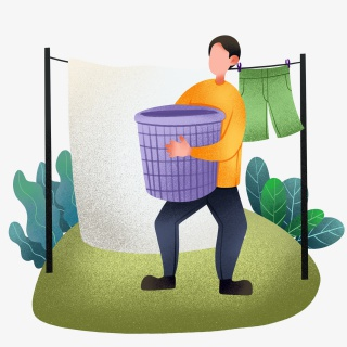 洗衣服晾衣服男孩插画