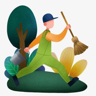 劳动节清扫打扫男孩插画