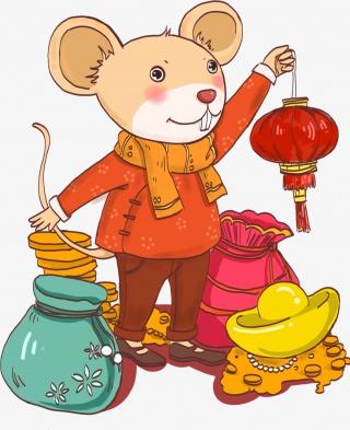 手绘老鼠新年元素