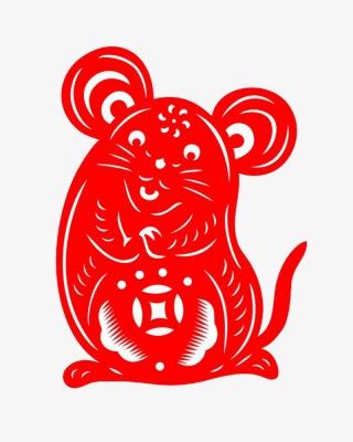 红色剪纸老鼠