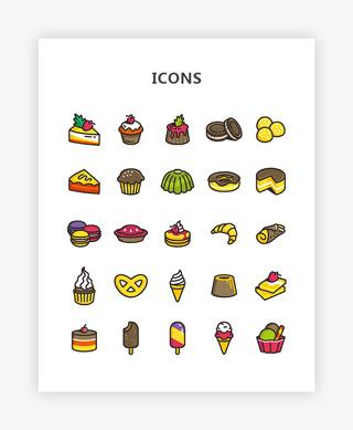 扁平化多色食物甜品图标