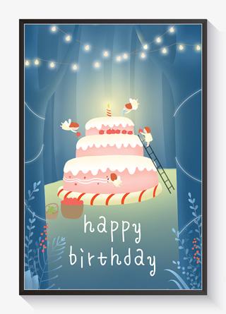生日快乐森林精灵做蛋糕
