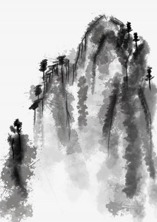 水墨中国山水画手绘png
