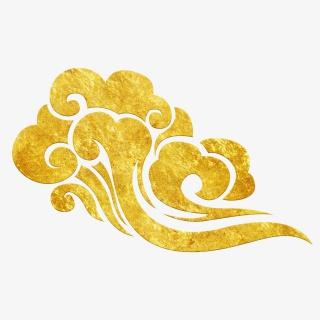 中国风传统烫金花纹祥云装饰图