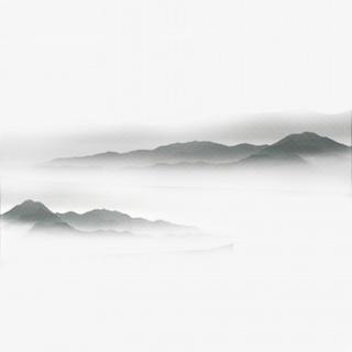 中国风水墨画远山流水云山雾罩黑