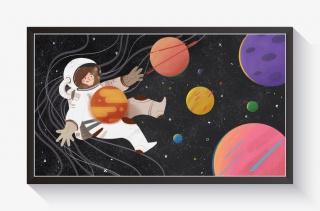 太空漫步主题插画