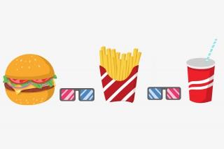 手绘卡通高热量食物汉堡薯条可乐分割线花边边框