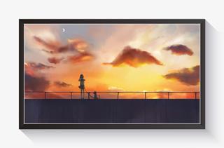 夕阳天空主题插画与晚霞散步