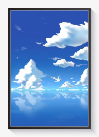 手绘海上蓝天白云背景