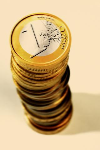 一堆欧元硬币
