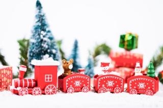 圣诞火车礼物火车圣诞节海报白色圣诞节