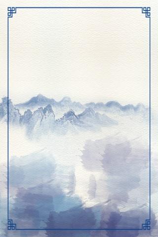简约蓝色中国风边框通用背景素材