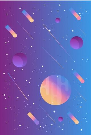 紫色扁平化璀璨星空矢量海报背景