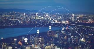 创意合成电子商务科技城市商业背景