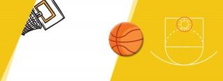卡通简约剪纸运动篮球篮筐球框海报背景