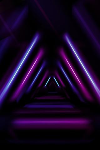 霓虹灯立体几何大气发光线条背景海报