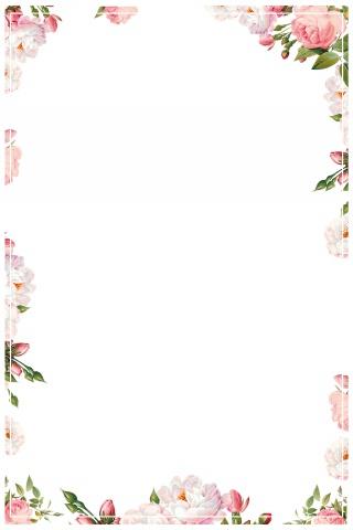 春季温馨花卉边框海报背景