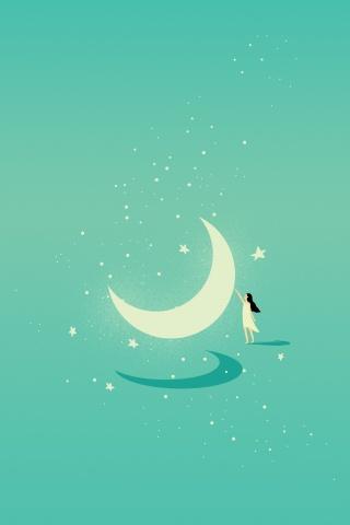 绿色唯美月亮星空下的女孩背景