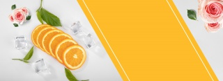 夏日冰块水果橙子切片鲜花文艺清新简约背景