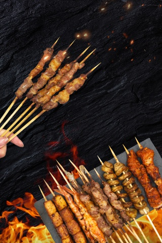 夏季烧烤美食节烤串撸串海报
