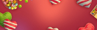 红色渐变圣诞节促销糖果马卡龙零食海报背景