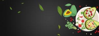 牛油果减肥简餐绿叶黑色背景