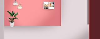 玫粉色质感大气空间感家居背景海报
